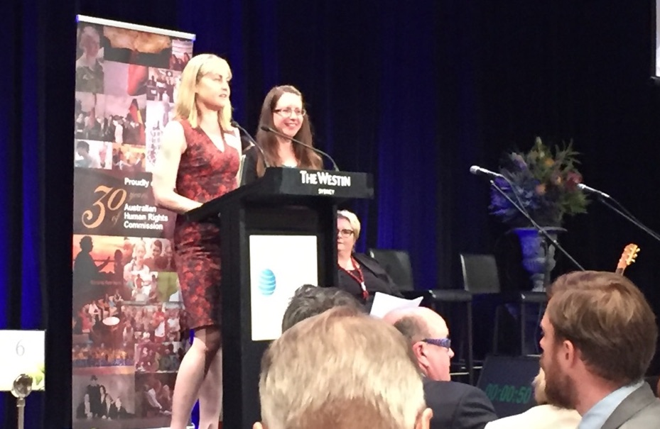 Picture of me accepting the 2016 Australian Human Rights Business Award (on the right) on behalf of Westpac Group.