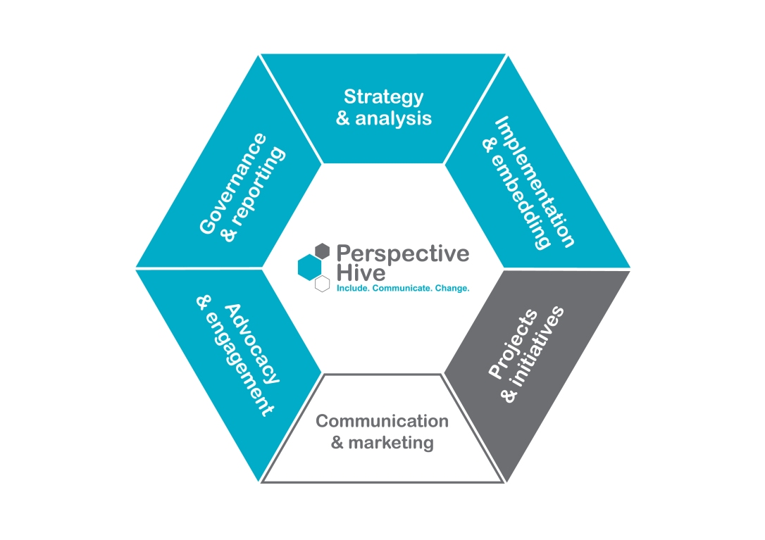 Perspective Hive services graphic in the shape of a hexagon covering the six key services offered